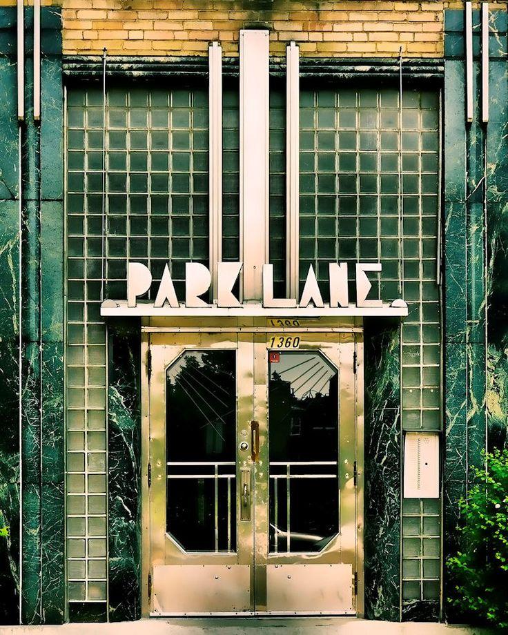 Art deco Montreal green glass chrome architecture urban building home decor…