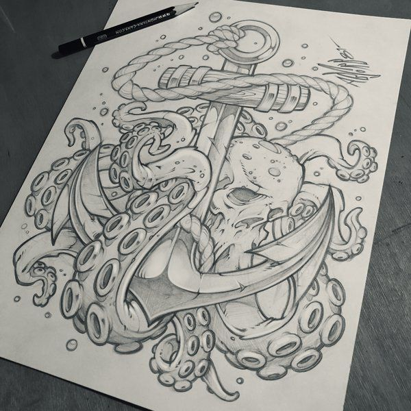 Image result for anchor drawing with octopus