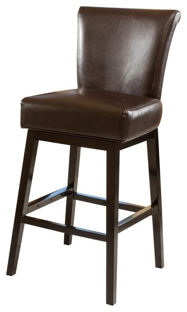 Madoc Brown Leather Swivel Barstool Transitional Bar Stools regarding Leather Swivel Bar Stools