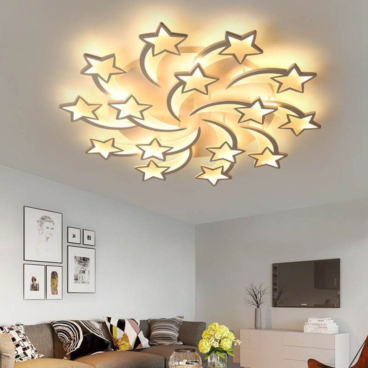 LED Chandelier Modern Stars For Living Room & Bedroom Remote/APP Support Home Design Chandelier Model