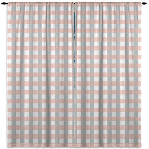 Plaid Window Curtain, Corale and Blue Kitchen Window Curtains, Bathroom Window Curtains, Window curtains drapes, Customized Curtain #41