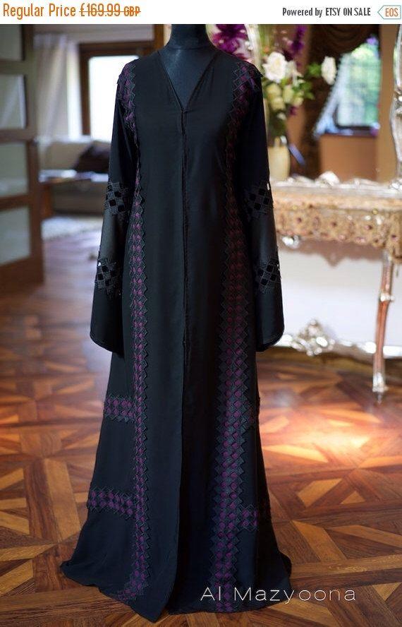 14 DAY PROMOTIONAL SALE Al Mazyoona Black Embroidered Party Wedding Bisht Abaya Dubai Arabic Jalabiya Khaleeji Kaftan Maxi by Almazyoona on Etsy https://www.etsy.com/listing/245524417/14-day-promotional-sale-al-mazyoona