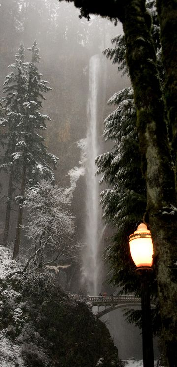 Lamplit, dusky winter scene at Multnomah Falls in the Columbia River Gorge of Oregon (30 mi. east of Portland) • photo: Synapped on Flickr