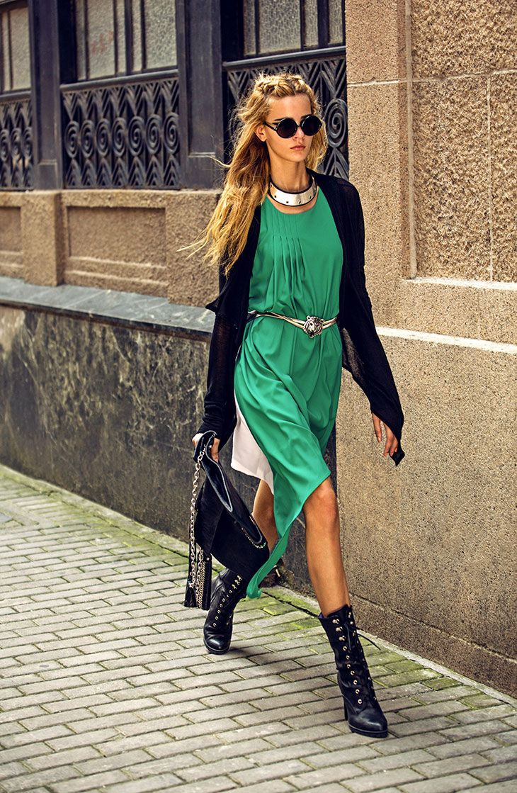 Green maxi dress, black cardigan, black pointed high heels, silver belt and necklace, black sunglasses and black leather handbag.  http://justbestylish.com/outfits/