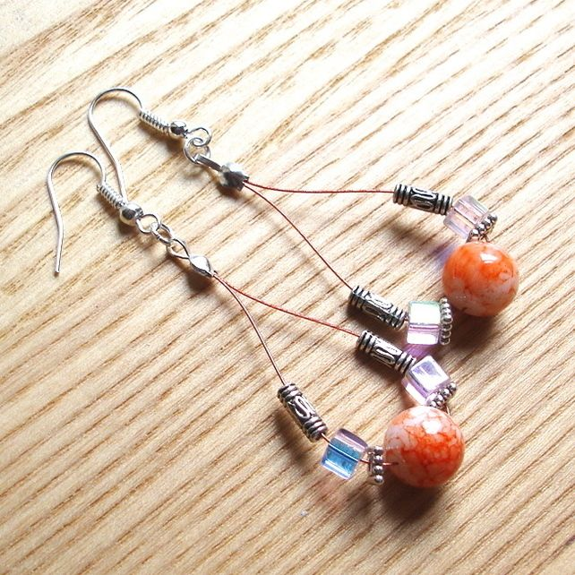 Orange and Pink Sparkle Loop Bead Earrings, Gorgeous Stocking Filler for Her £4.00
