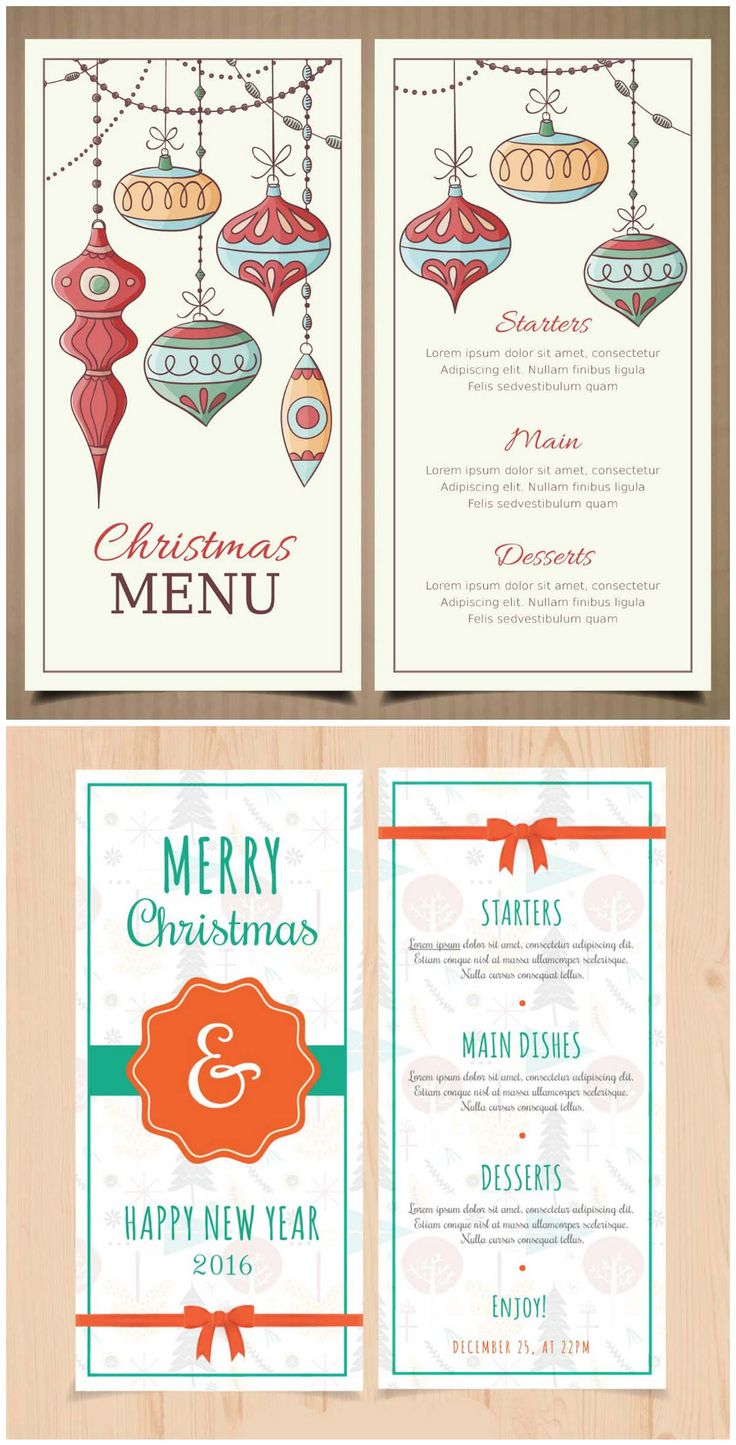 Christmas and New Year menu templates with retro baubles