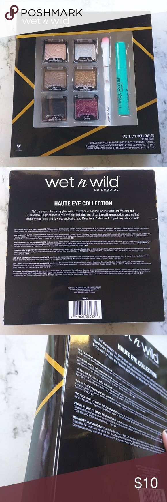 Wet N Wild Haute Eye Collection - Color Icon Glitter Singles in Bleached, Brass, and Groupie - Color Icon Eyeshadow Singles in Brulee, Nutty, and Panther - Eyeshadow Brush - Mega Wear Mascara  Set is new with seal.  No trades.  Please bundle to purchase. wet n wild Makeup