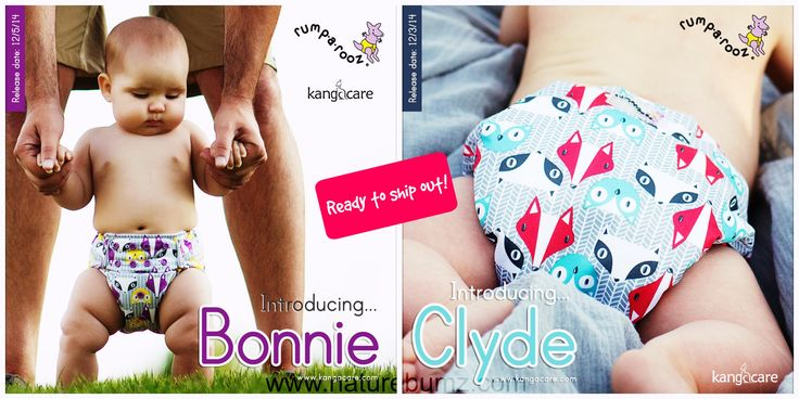 **NEW PRINTS!**  Bonnie & Clyde are NOW available for purchase!  Check them out: http://www.naturebumz.com/rumparooz-g2-one-size-pocket-diaper.html