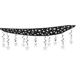 Hangdecoratie plafond sterren zilverkleurig -  Een prachtige decoratie om aan het plafond te hangen tijdens een Hollywood of ander glitter en glamour feest. Afmeting: 30 x 360cm.