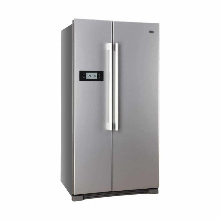 Este frigorifico es muy grande y puede conservar muchos alimentos por mucho tiempo. Es de acero gris para la cocina.