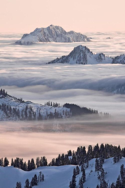 North Shore Mountains above the clouds from Garibaldi Park, British Columbia, Canada | by Christopher Barton.