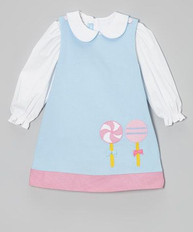 Love this Light Blue Lollipop Jumper & White Blouse - Toddler & Girls on #zulily! #zulilyfinds