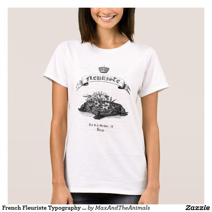 French Fleuriste Typography Label - Paris T-Shirt