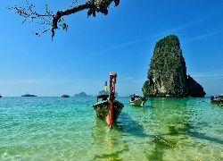 Półwysep, Reilly, Skały, Tajlandia, Plaża, Łodzie, Morze
