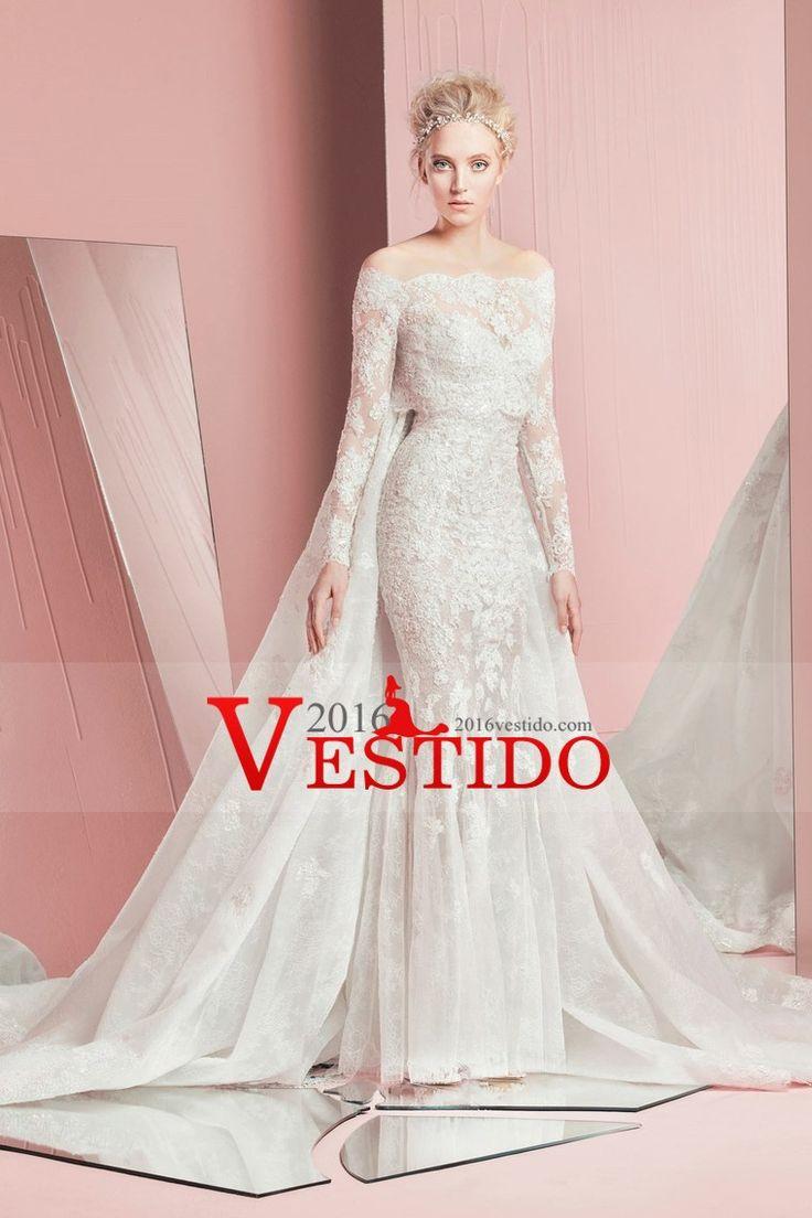 2017 vestidos de boda de la sirena del barco cuello con apliques de tren capilla de encaje