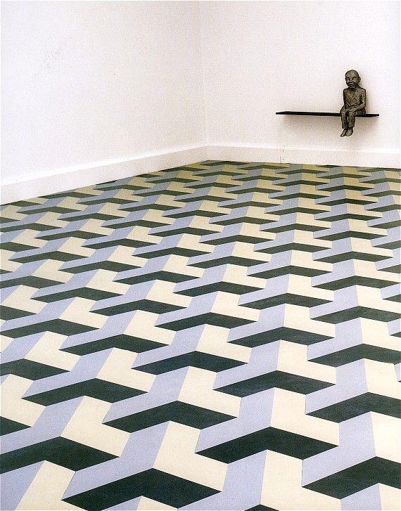 Juan Munoz - The Wasteland -DLW Linoleum Art on the Floor
