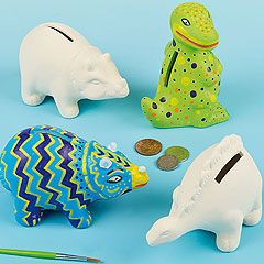 Novelty ceramic coin banks in 3 assorted dinosaur designs. Colour with our porcelain paint pens or acrylic paint, then start saving!