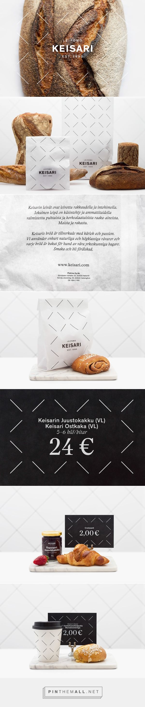 Keisari Bakery on Behance by Werklig curated by Packaging Diva PD.  In packaging we decided to use white materials instead of the usual brown as it created a clear differentiation from other bakery brands. Branding Packaging Pattern Design.