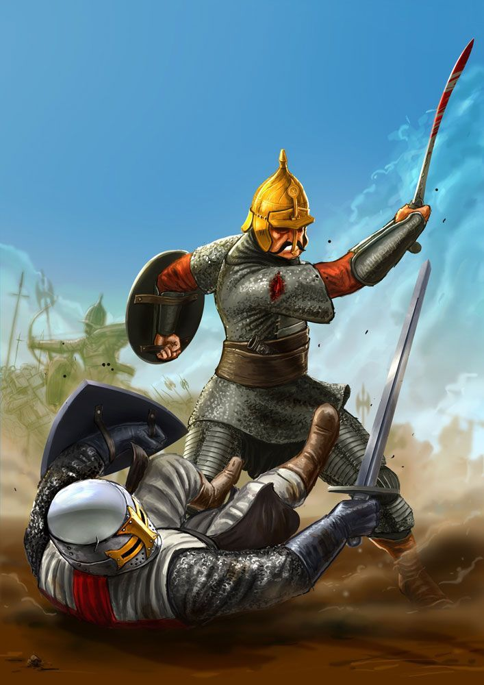 Melee duel between a turk and a crusasder templar