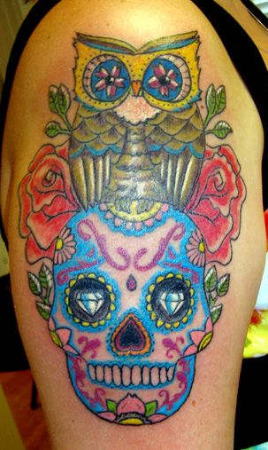 17 best images about tattoo love on pinterest bow for Owl and sugar skull tattoo