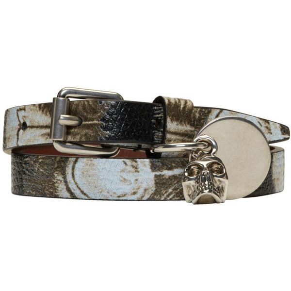 Alexander McQueen Black and Ivory Skull Charm Double Wrap Bracelet (925 SAR) ❤ liked on Polyvore featuring men's fashion, men's jewelry, men's bracelets, black, mens skull bracelets and mens charm bracelets
