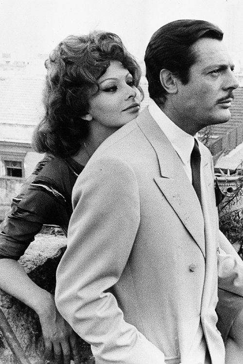"Sophia Loren and Marcello Mastroianni in 'Matrimonio all'Italiana' (""Marriage Italian Style""), 1964."
