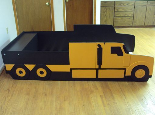 custom made semi tractor truck twin kids bed frame handcrafted truck themed childrens - Childrens Bed Frames