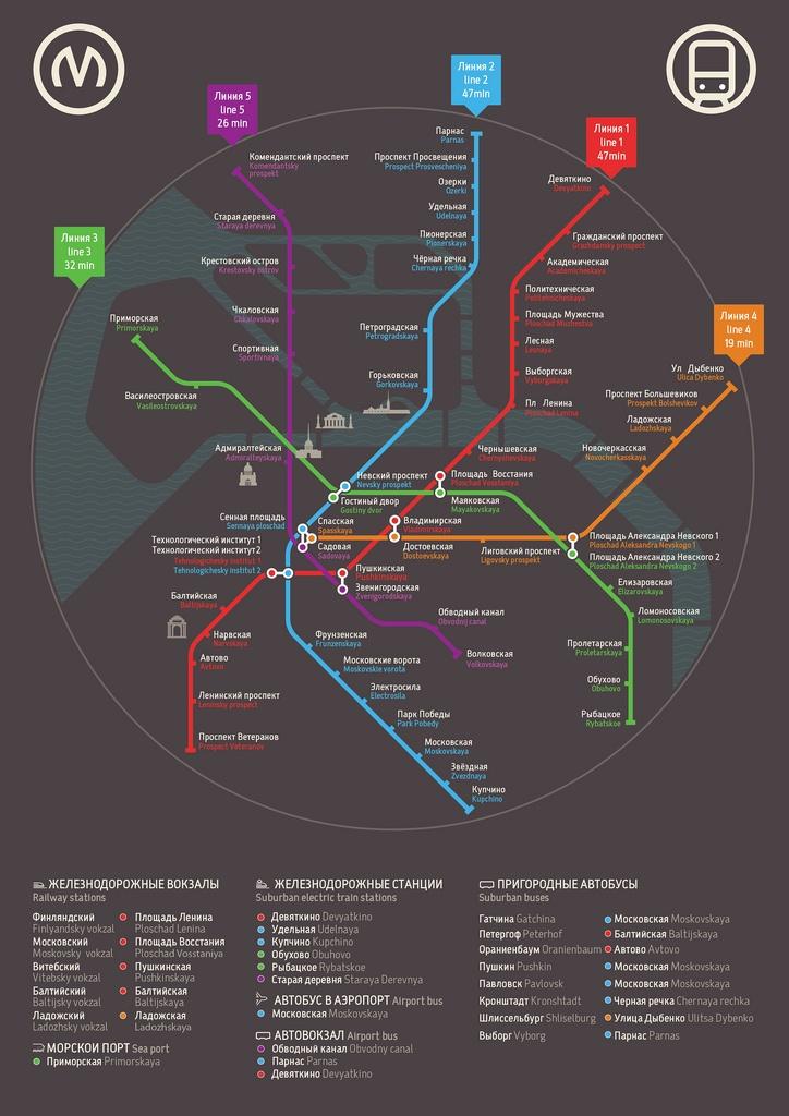 St/ Petersburg metro map poster