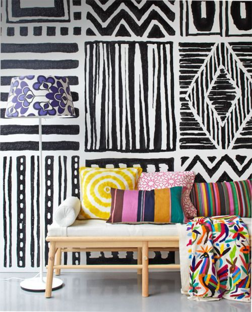 From Interior Design Inspiration I Love How All The Different Patterns Works So Well Together