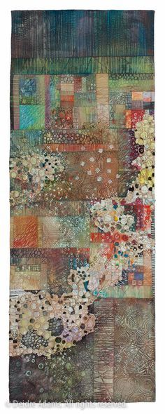 Deidre Adams – The quiet beauty of the imperfect. Deidre pieces her backgrounds, them quilts them, and finally paints over them. Very cool!