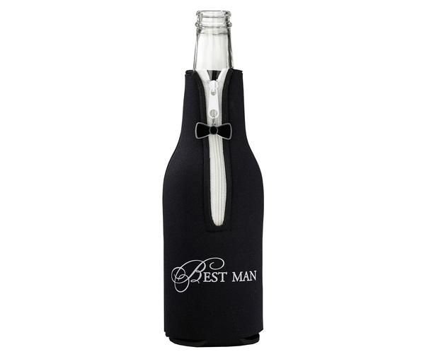 "This best man bottle cozy is the perfect wedding party favor. It works well for bachelor parties or the wedding reception. It measures 7.5"" tall."