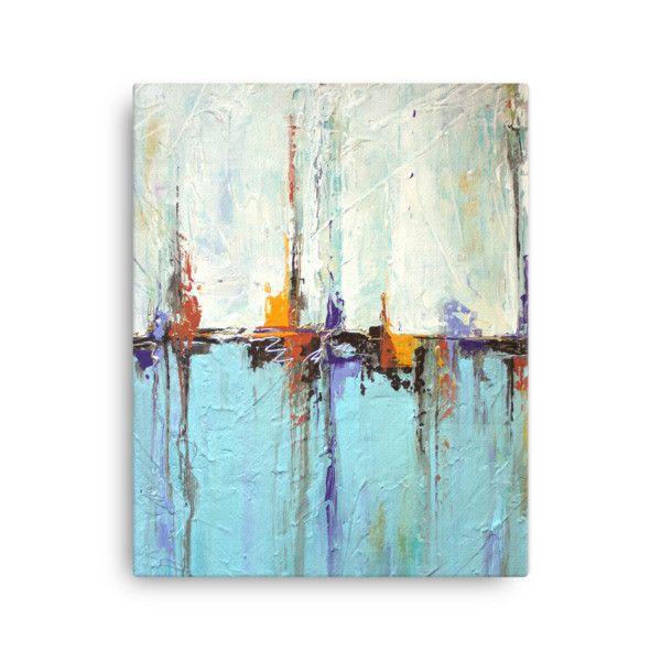 White and Blue Coastal Art - Canvas Print - Abstract Seascape