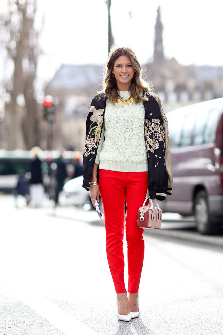 Helena Bordon in a silky jacket. Paris Fashion Week #Streetstyle Fall 2014 #PFW