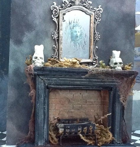 Marvelous 1 12 Scale Dollhouse Miniature Haunted Mirror Skull Candles Halloween  Fireplace | EBay