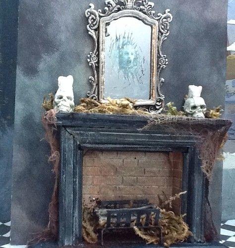 1 12 scale dollhouse miniature haunted mirror skull candles halloween fireplace ebay - Halloween Fireplace