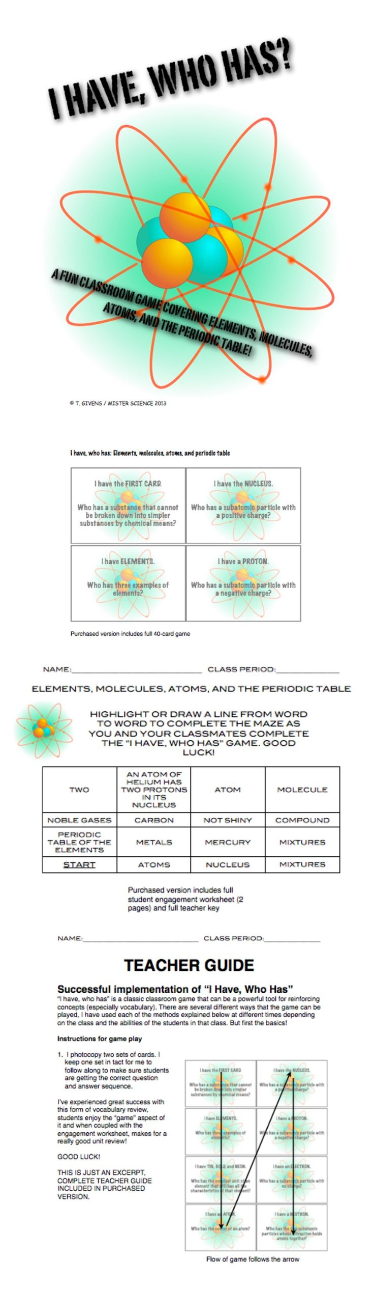 133 best learning about atoms images on pinterest science i have who has game atoms periodic table molecules chem 5th 6th 7th 8th jr high robcynllc Image collections