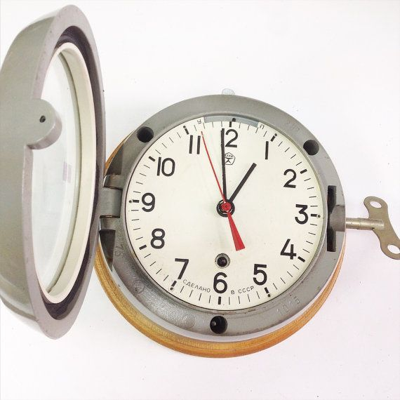 Soviet Vintage Navy Clock With a Cast Iron by SovietHardware
