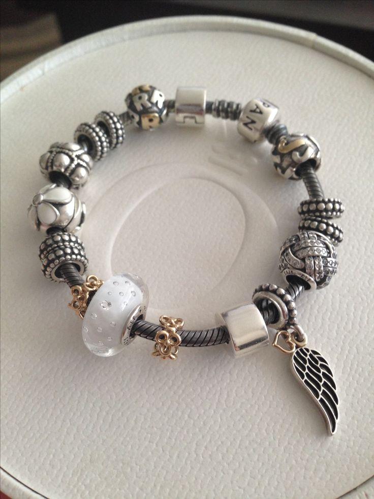 Pandora oxidized bracelet with white.