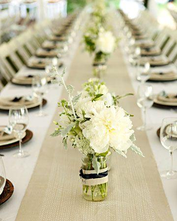 mason jar centerpieces: White Flowers, Mason Jar Centerpieces, Mason Jars Centerpieces, Tables Runners, Glasses Jars, Mason Jars Candles, Table Runners, Long Tables, Glass Jars