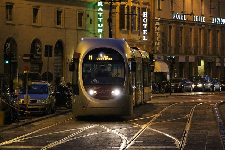A new tram approaches the last stop of its route at Santa Maria Novella in Florence. #tram #lightrail #florence #firenze #breda