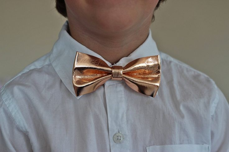 Boys Gold leather bow tie for toddlers, gold wedding bow tie, gold boys bowtie, gold bow tie, wedding bow tie, toddler bow tie, boys bowtie by NevesticaWeddings on Etsy