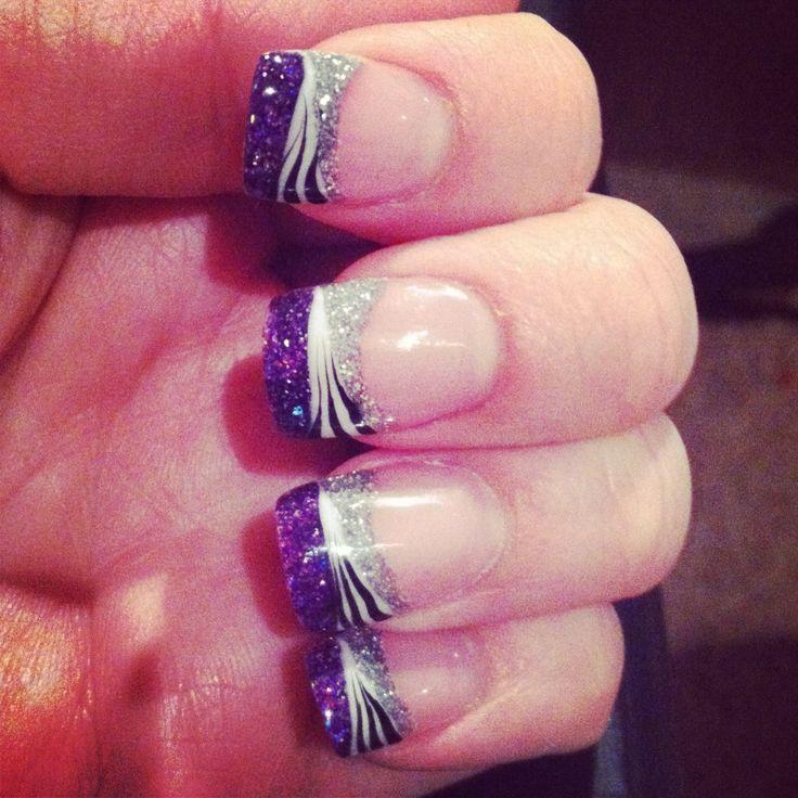 purple, zebra, and silver glitter french tip.
