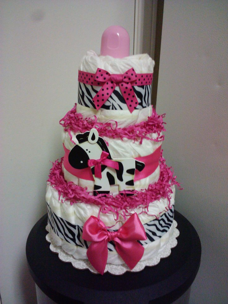 Diaper Cakes For Baby Showers | Modern Hot pink ZEBRA diaper cake baby shower by diapercake4less