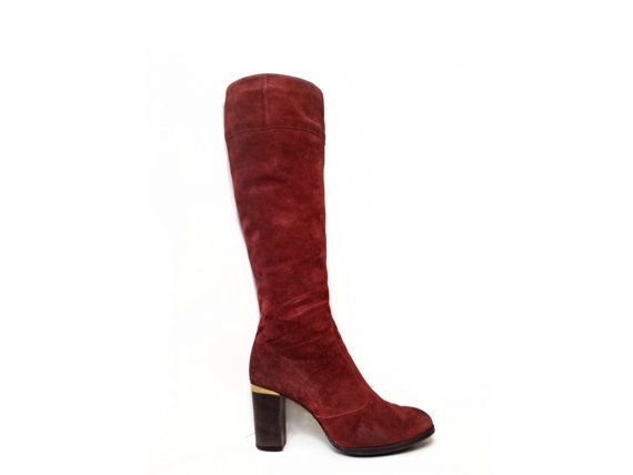 Pertti Palmroth for Saks Fifth Avenue Avant Garde Vintage Burgundy Suede Boots Made in FINLAND by FeelingVagueVintage, $88.00