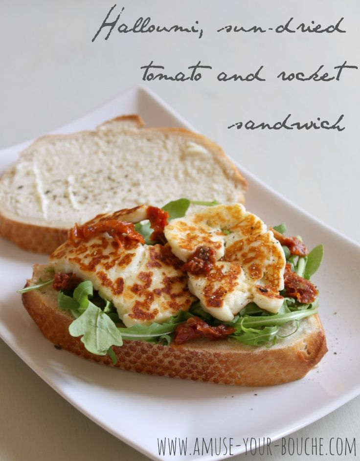 Halloumi, sun-dried tomato and rocket sandwich  |  use the slow roasted tomatoes or fresh tomatoes instead of sun-dried.
