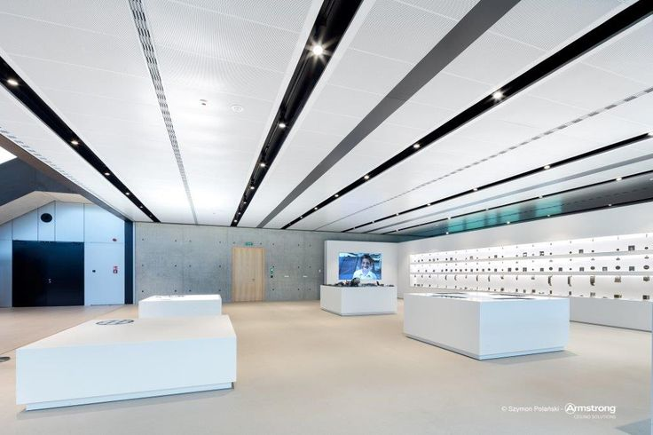 Siedziba firmy Trumpf, showroom, ceiling, acoustic, Armstrong, sufity podwieszane, R-Clip (BPEAS048088) Rg4022 with fleece RAL9006 with special D-border; special Bandraster RAL9005
