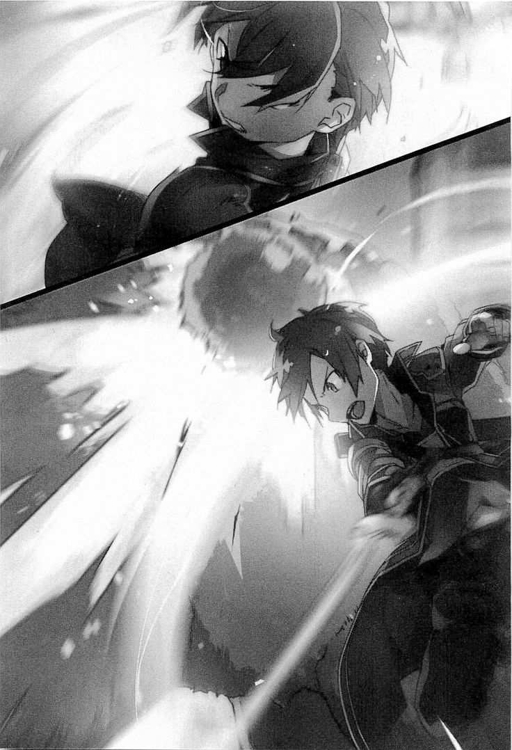 Light Novel Volume 1 Kirito's beta avatar character design by Shingo Adachi for the Aincrad arc of the Sword Art Online anime