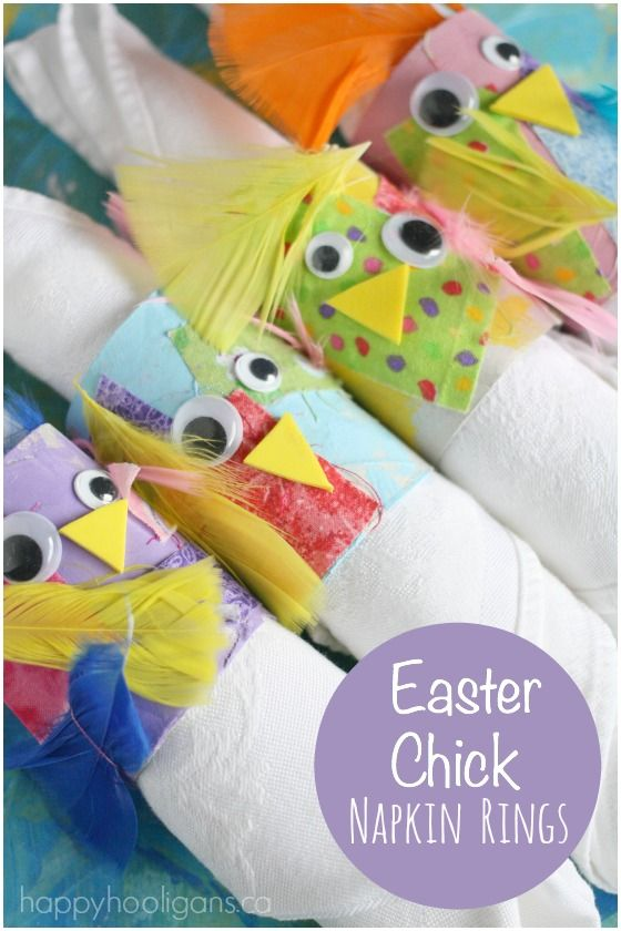 Easter Chick Napkin Rings for Kids. So fun and easy to make, and they're sooo stinkin' adorable! Can't wait for the to brighten our Easter table this year - Happy Hooligans