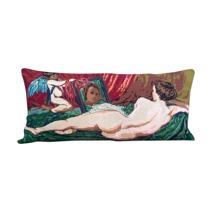 Buy it now: LARGE BOLSTER NEEDLEPOINT TAPESTRY CUSHION OF VENUS #Layer
