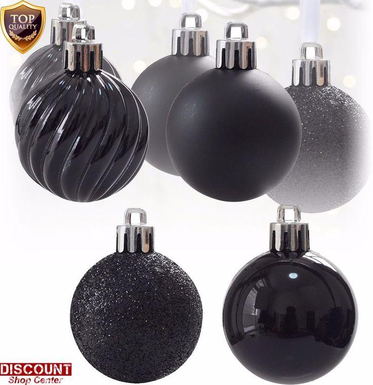 24Pack Black Christmas Ornaments Balls Set Tree Decorations Hanging Xmas Holiday #KIStore